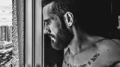 adult art beard black and white